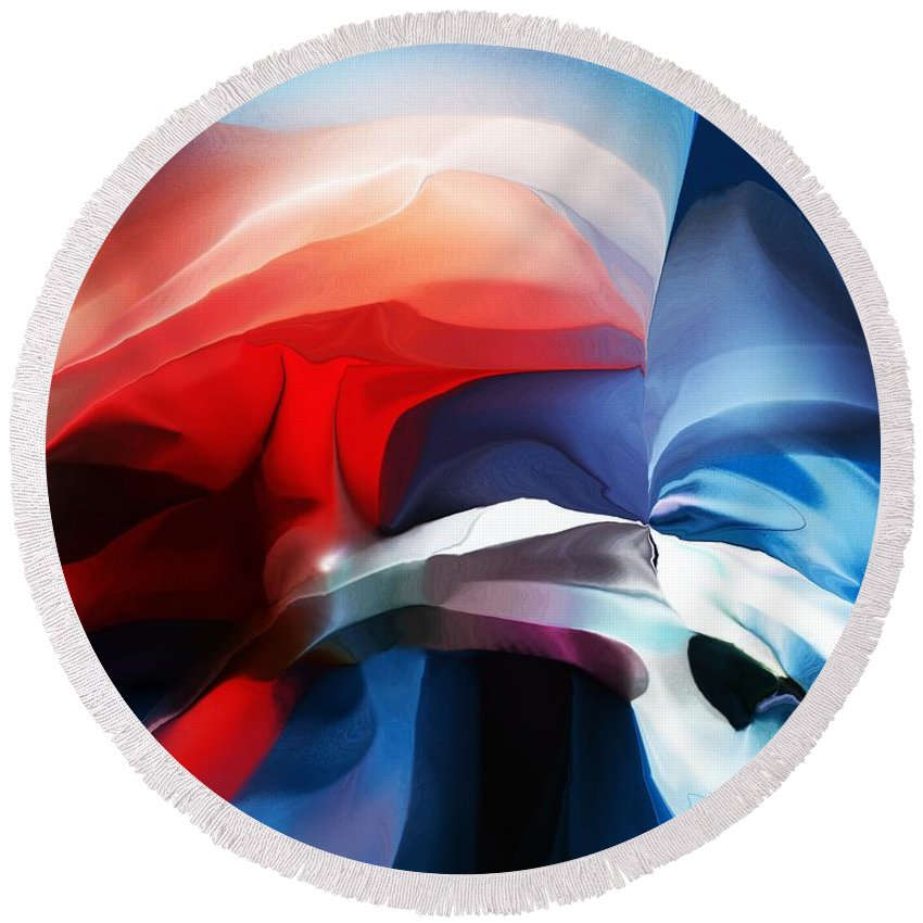 Abstract Round Beach Towel featuring the digital art Abstract 071713 by David Lane