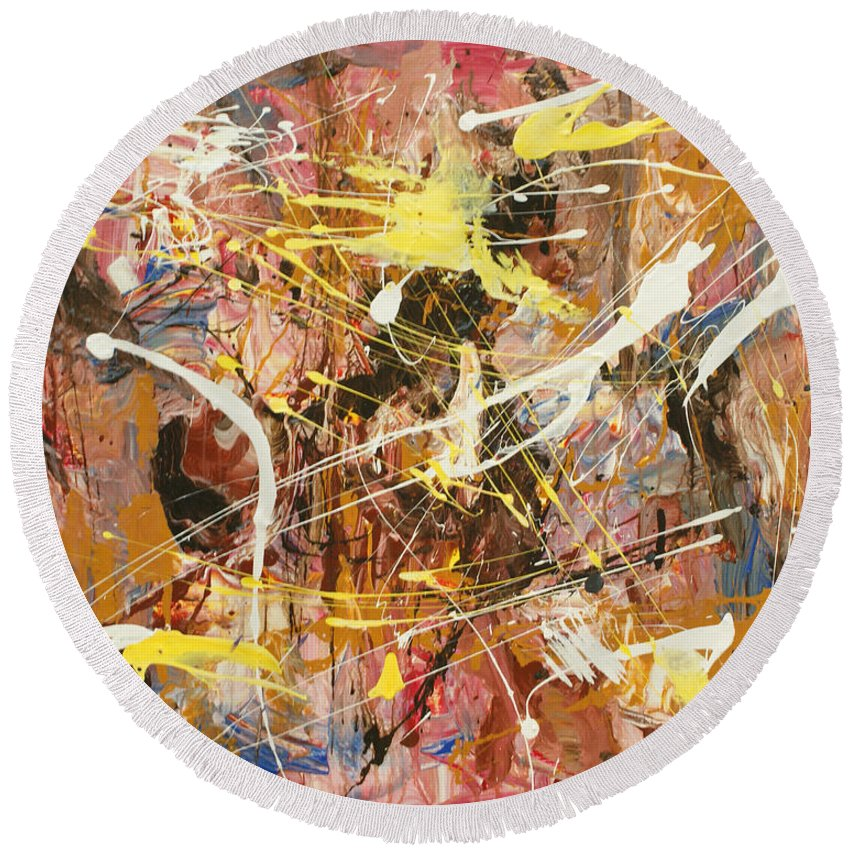 Abstract Art Round Beach Towel featuring the painting Abstract 1 by Harout Shamamian