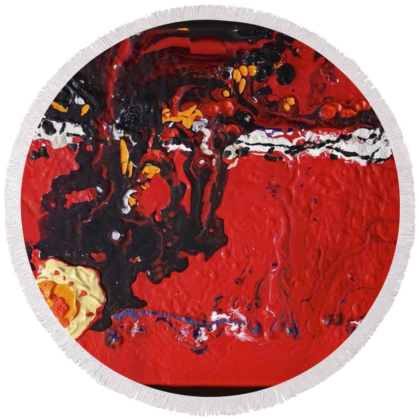Abstracts Round Beach Towel featuring the painting Abstract 13 - Dragons by Mario MJ Perron