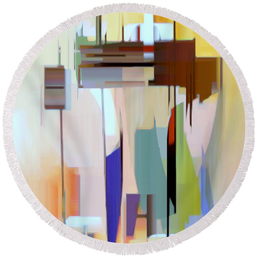 Abstract Round Beach Towel featuring the digital art Abstract 16 by Rafael Salazar