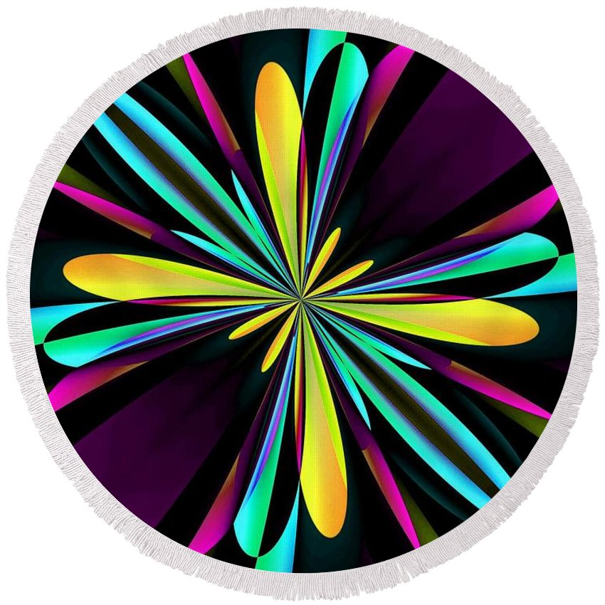 Abstract 222 Round Beach Towel featuring the digital art Abstract 222 by Maria Urso