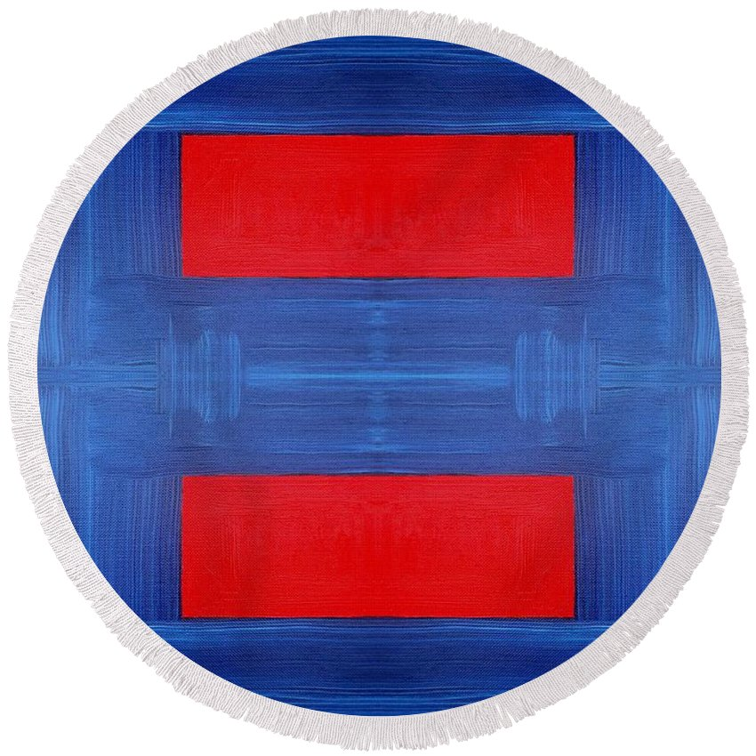 Abstract Round Beach Towel featuring the painting Abstract 477 by Patrick J Murphy