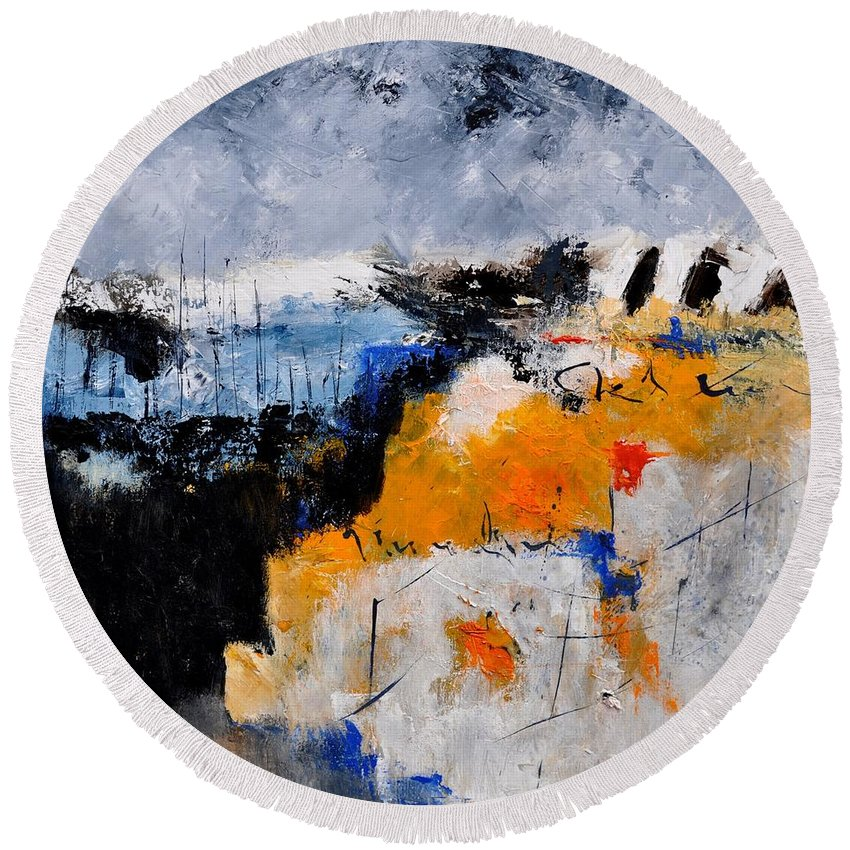 Abstract Round Beach Towel featuring the painting Abstract 66211142 by Pol Ledent