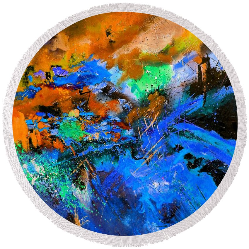 Abstract Round Beach Towel featuring the painting Abstract 783180 by Pol Ledent