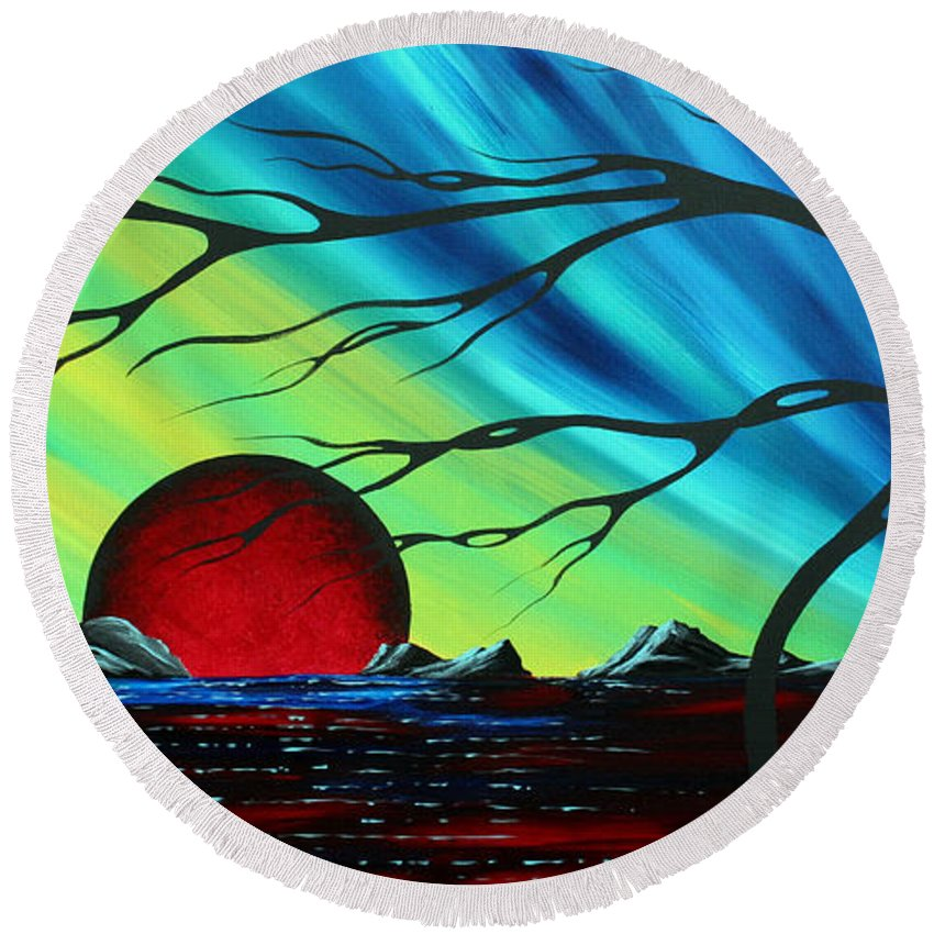 Abstract Round Beach Towel featuring the painting Abstract Art Landscape Seascape Bold Colorful Artwork Serenity By Madart by Megan Duncanson