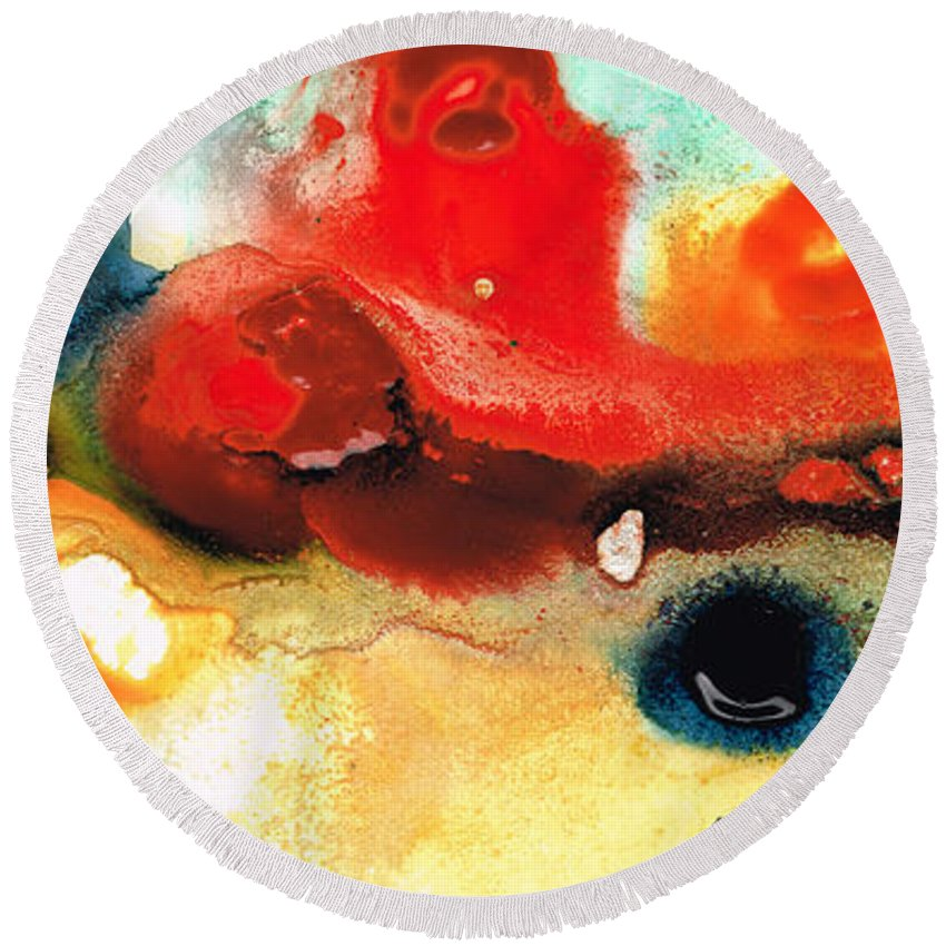 Abstract Art Round Beach Towel featuring the painting Abstract Art - No Limits - By Sharon Cummings by Sharon Cummings