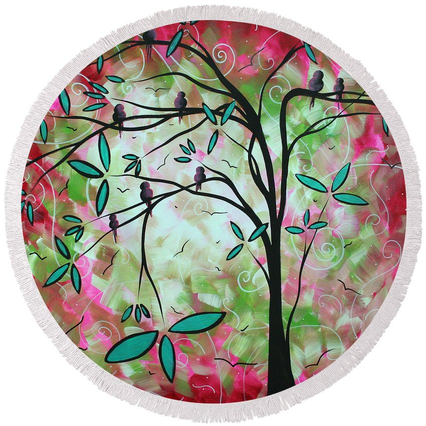 Whimsical Round Beach Towel featuring the painting Abstract Art Original Whimsical Magical Bird Painting Through The Looking Glass by Megan Duncanson