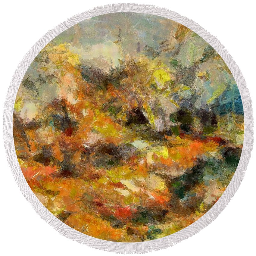 Abstract Autumn Round Beach Towel featuring the painting Abstract Autumn 2 by Dragica Micki Fortuna