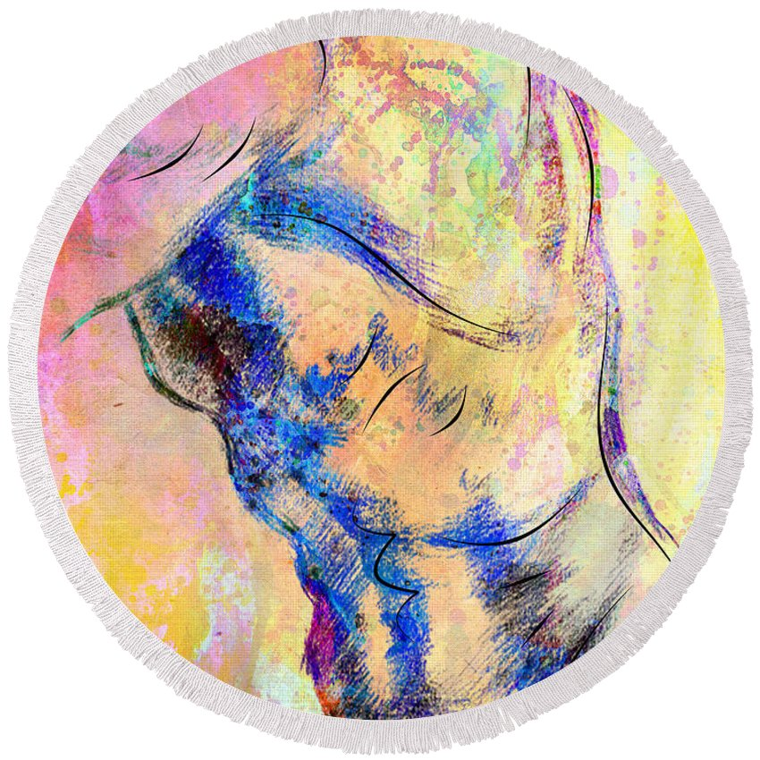 Bodybuilder Round Beach Towel featuring the digital art Abstract Bod 6 by Mark Ashkenazi