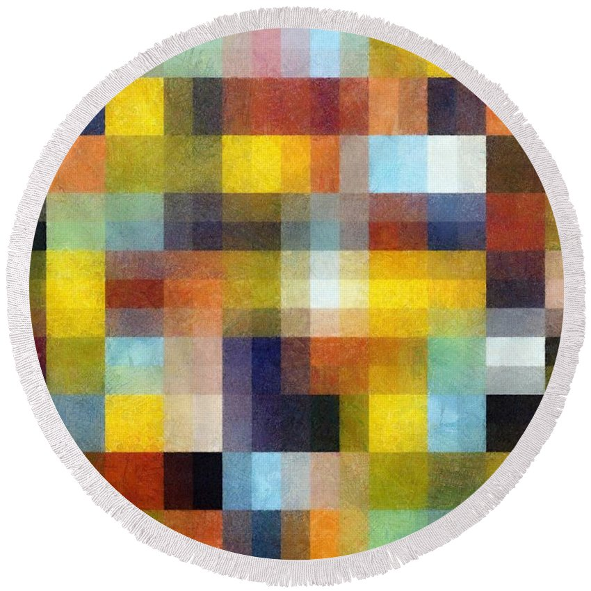 Pixels Round Beach Towel featuring the painting Abstract Boxes With Layers by Michelle Calkins