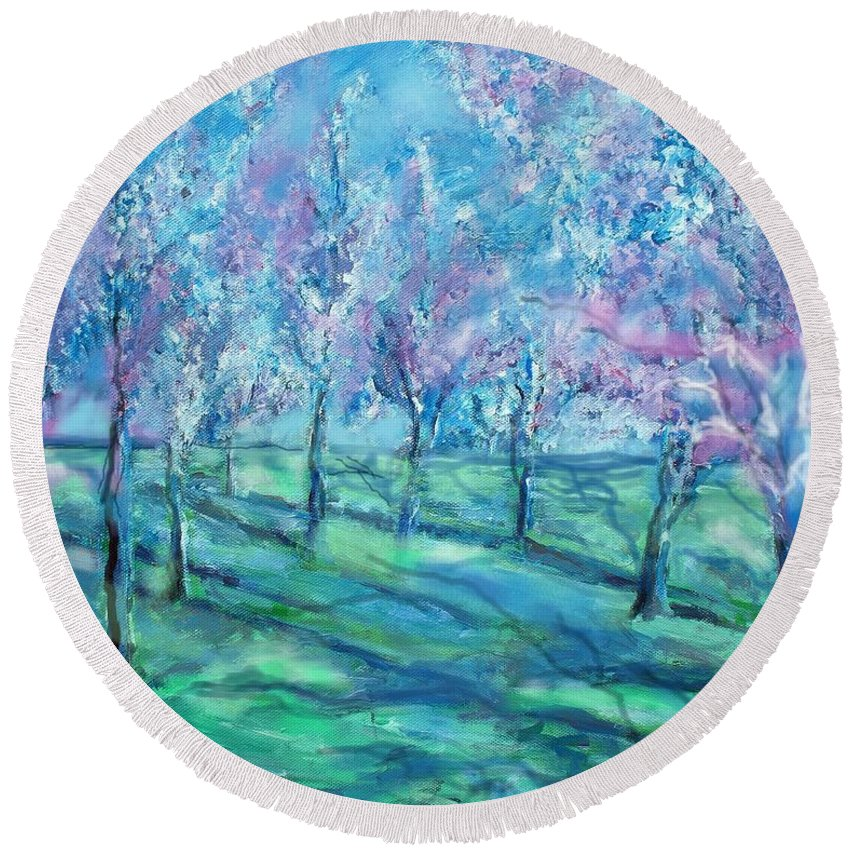 Abstracts Round Beach Towel featuring the painting Abstract Cherry Trees by Eric Schiabor
