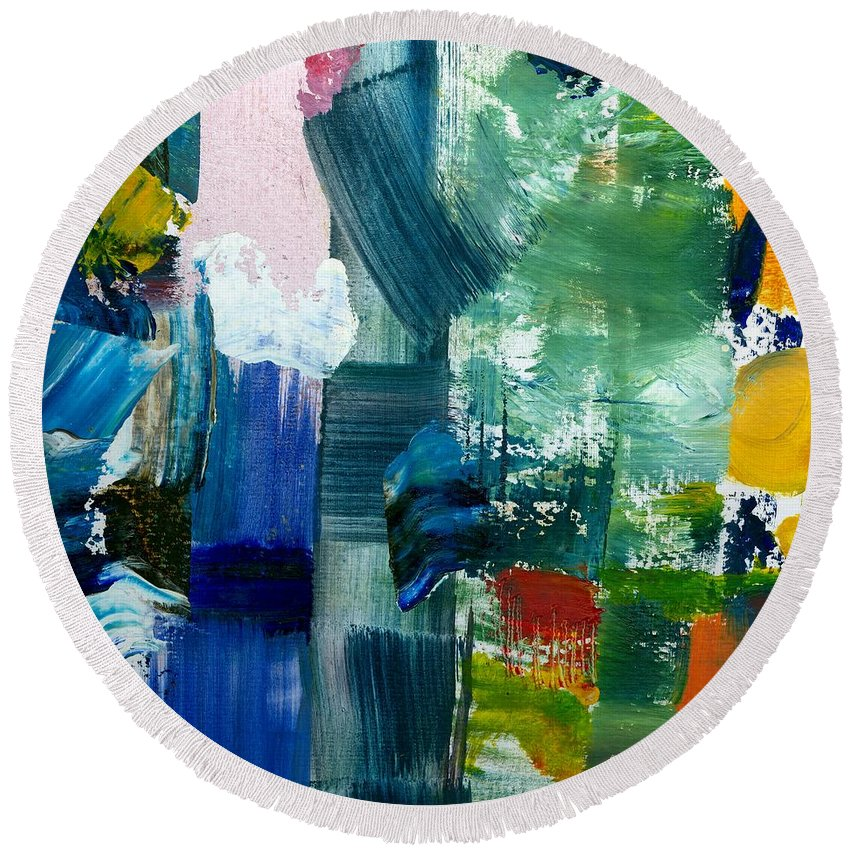 Abstract Collage Round Beach Towel featuring the painting Abstract Color Relationships lll by Michelle Calkins