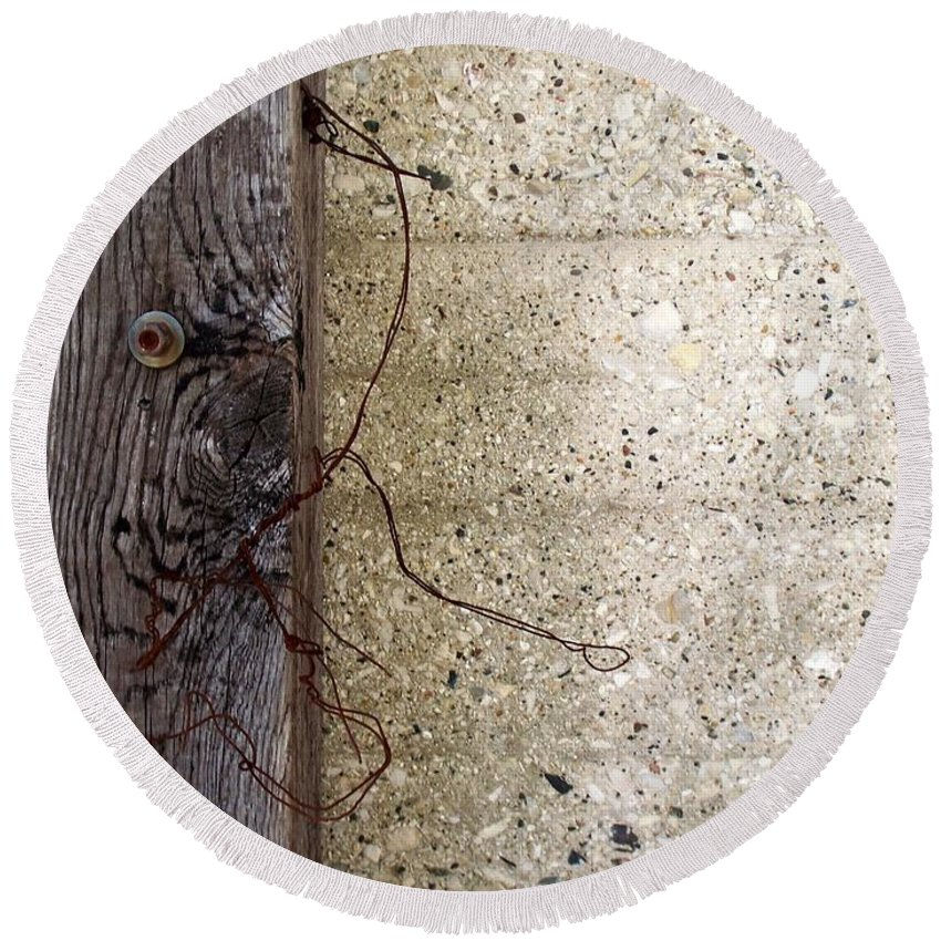 Industrial. Urban Round Beach Towel featuring the photograph Abstract Concrete 11 by Anita Burgermeister