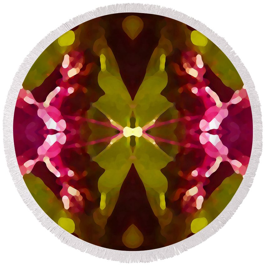 Contemporary Round Beach Towel featuring the painting Abstract Crystal Butterfly by Amy Vangsgard