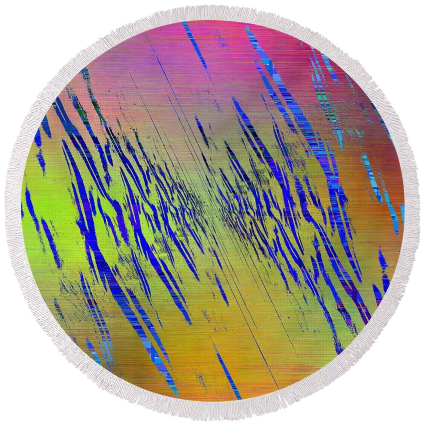 Abstract Round Beach Towel featuring the digital art Abstract Cubed 105 by Tim Allen