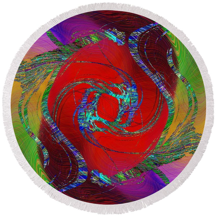 Abstract Round Beach Towel featuring the digital art Abstract Cubed 189 by Tim Allen