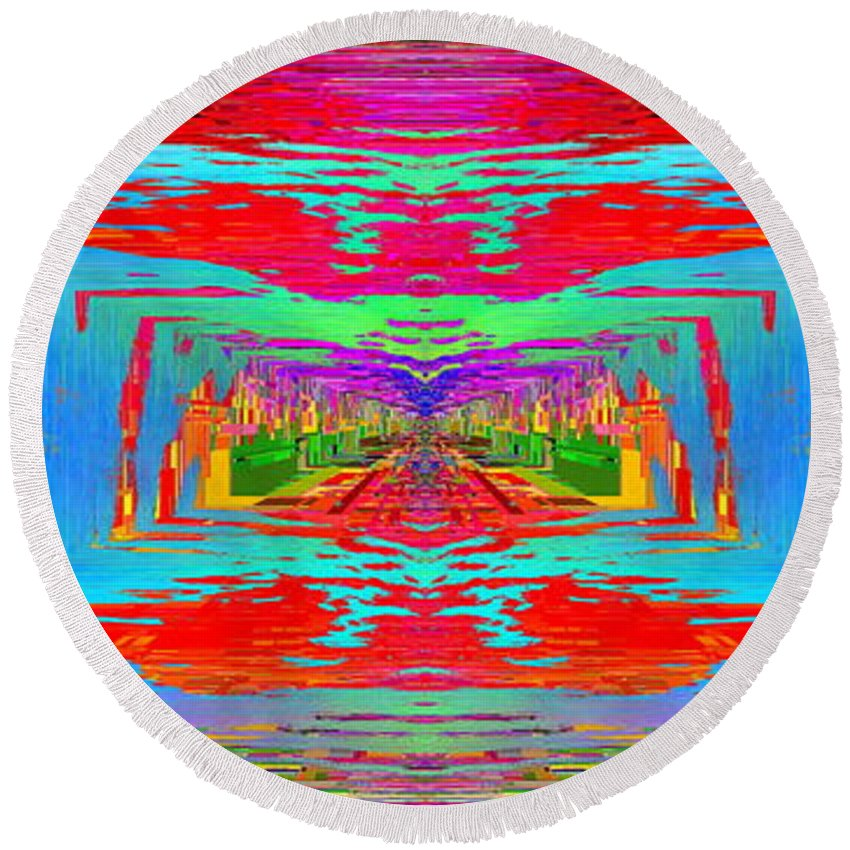 Abstract Round Beach Towel featuring the digital art Abstract Cubed 30 by Tim Allen
