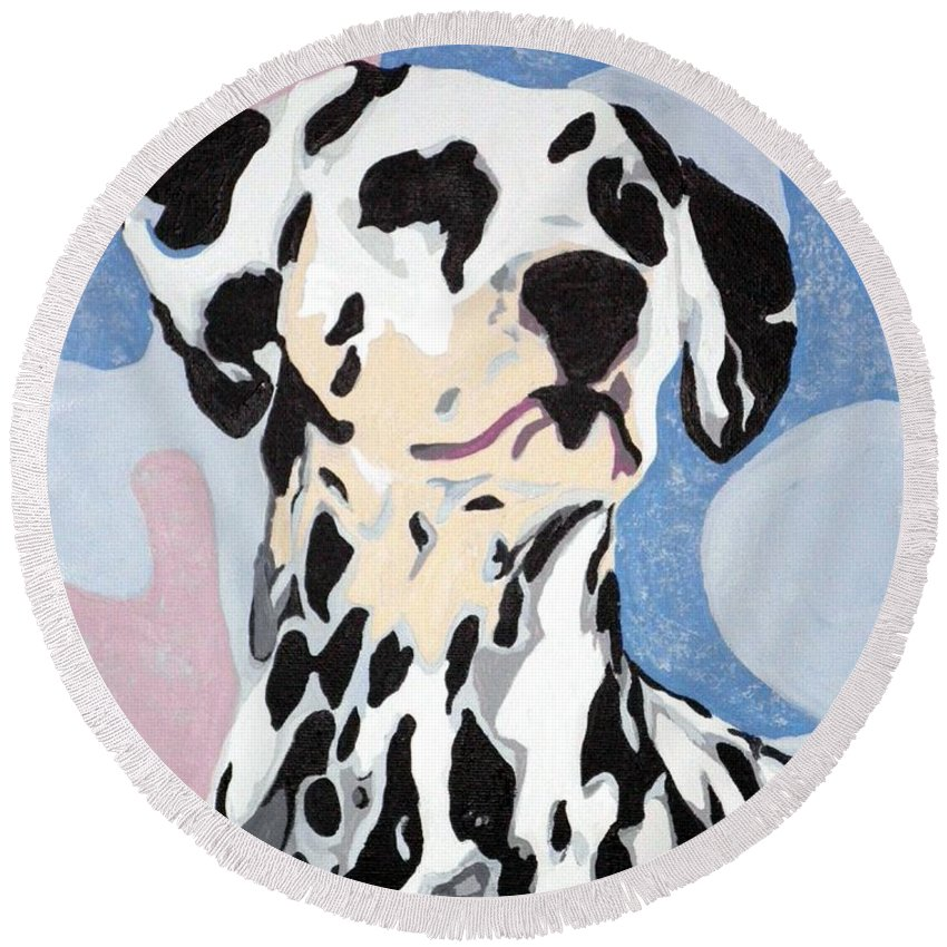 Dalmatian Round Beach Towel featuring the painting Abstract Dalmatian by Jacki McGovern