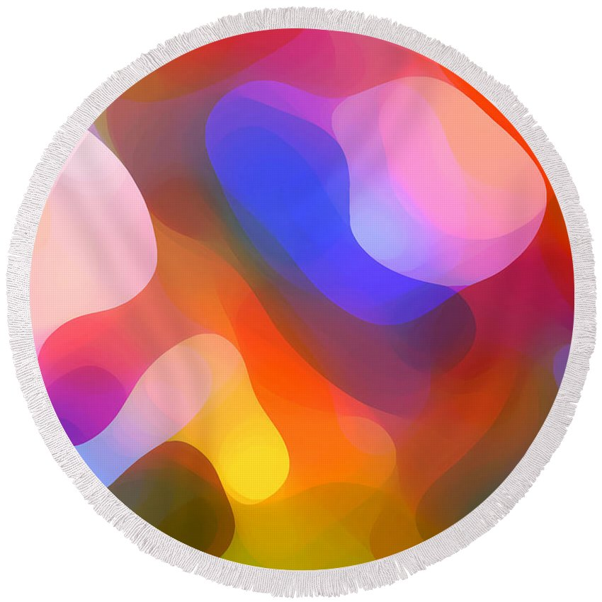 Abstract Art Round Beach Towel featuring the painting Abstract Dappled Sunlight by Amy Vangsgard