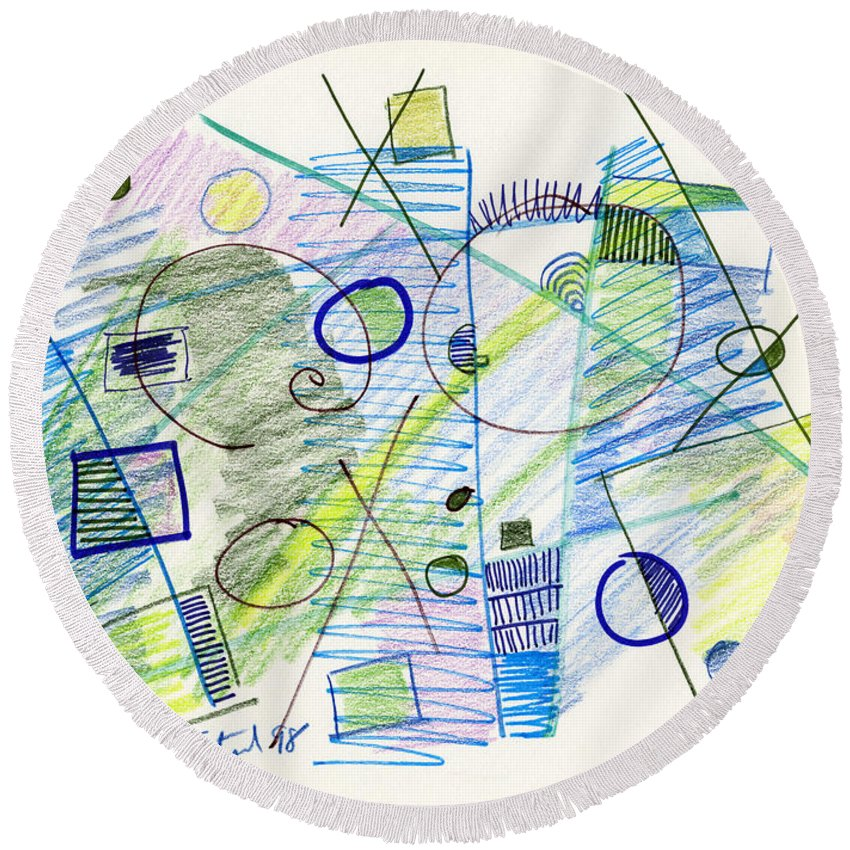 Abstract Round Beach Towel featuring the drawing Abstract Drawing Seven by Lynne Taetzsch