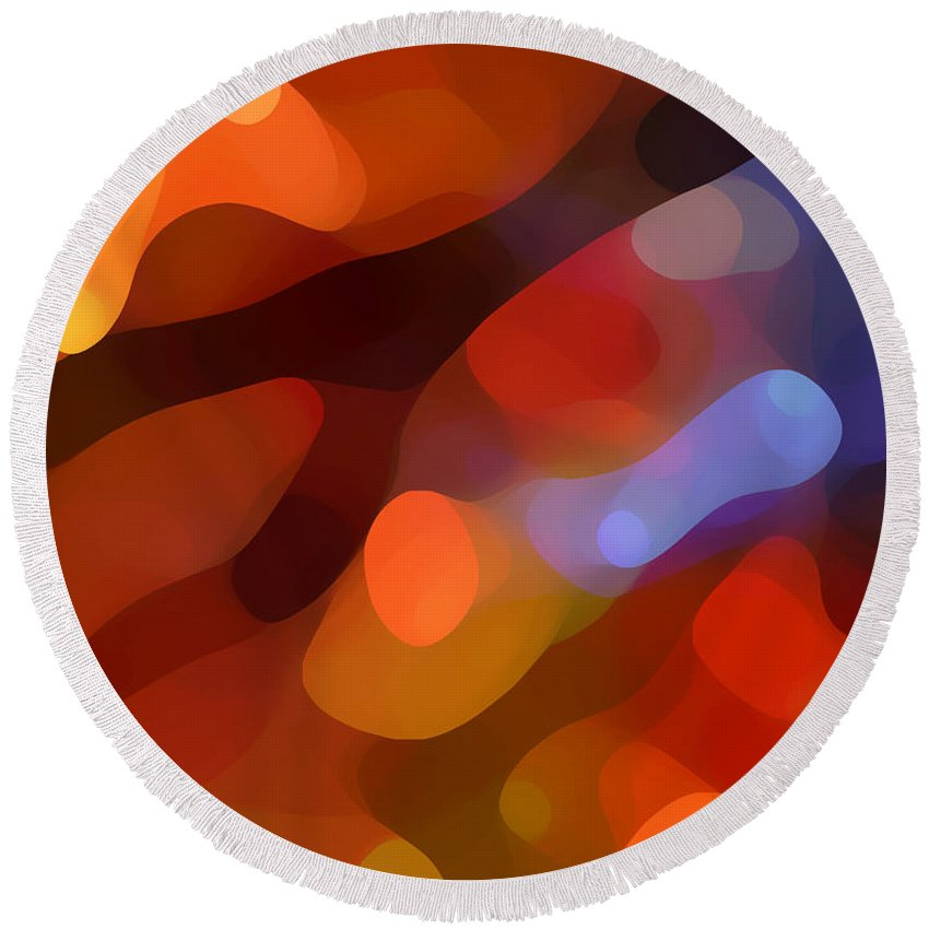 Abstract Art Round Beach Towel featuring the painting Abstract Fall Light by Amy Vangsgard