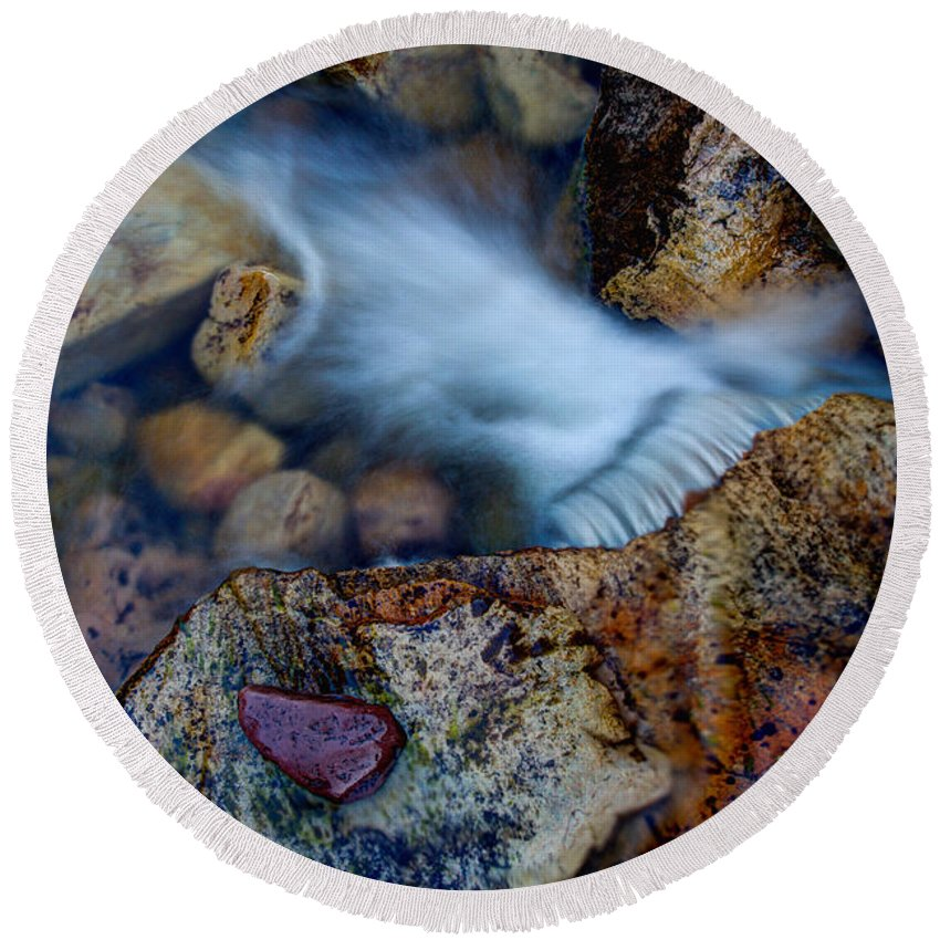Outdoor Round Beach Towel featuring the photograph Abstract Falls by Chad Dutson