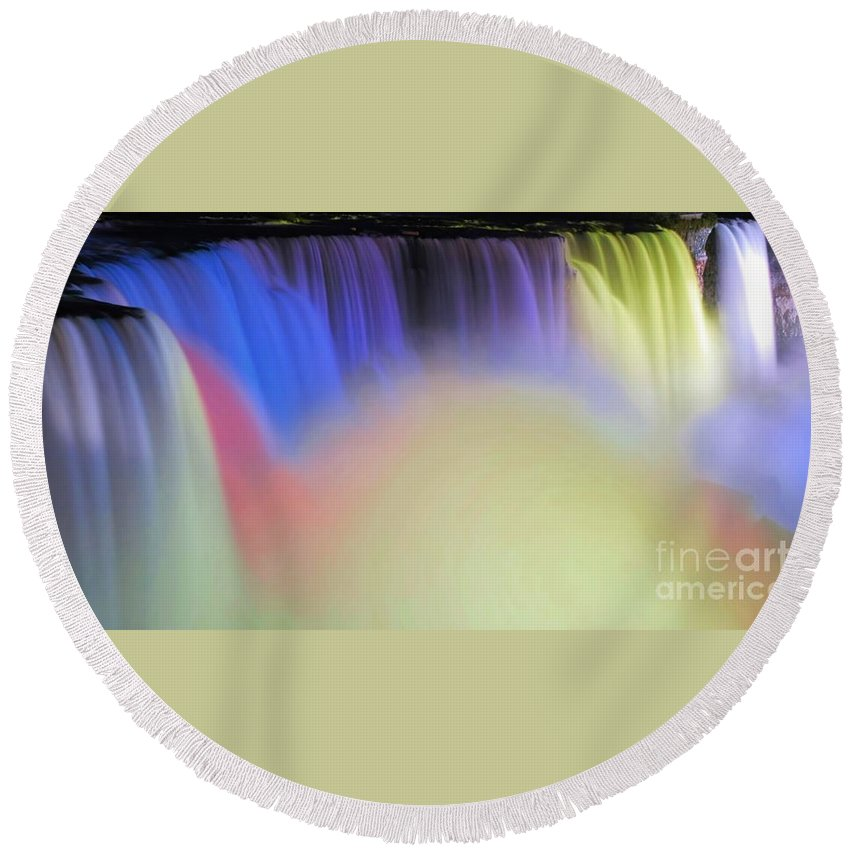 Niagara Round Beach Towel featuring the photograph Abstract Falls by Kathleen Struckle