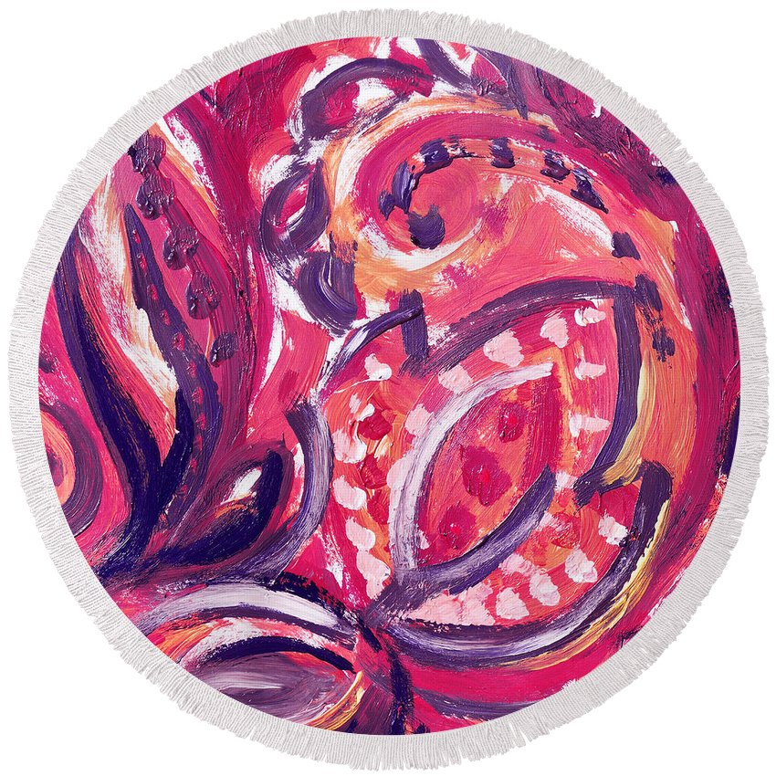 Purple Round Beach Towel featuring the painting Abstract Floral Design Purple Note by Irina Sztukowski