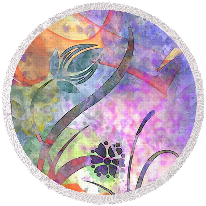 Design Round Beach Towel featuring the digital art Abstract Floral Designe - Panel 2 by Debbie Portwood