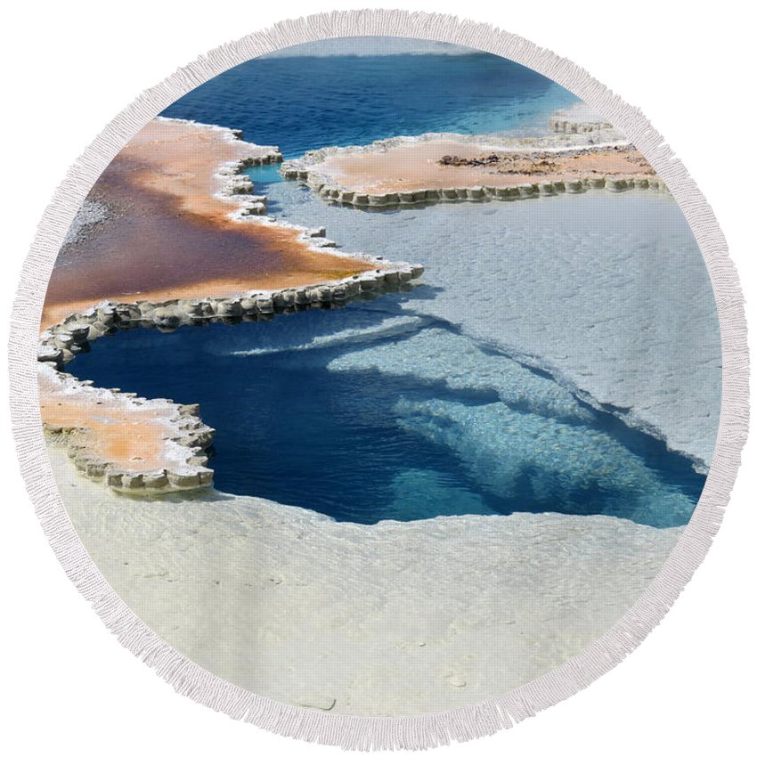 Abstract Round Beach Towel featuring the photograph Abstract From The Land Of Geysers. Yellowstone by Ausra Huntington nee Paulauskaite