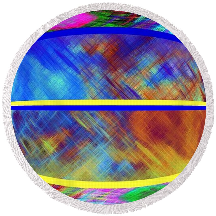 Abstract Fusion Round Beach Towel featuring the digital art Abstract Fusion 173 by Will Borden