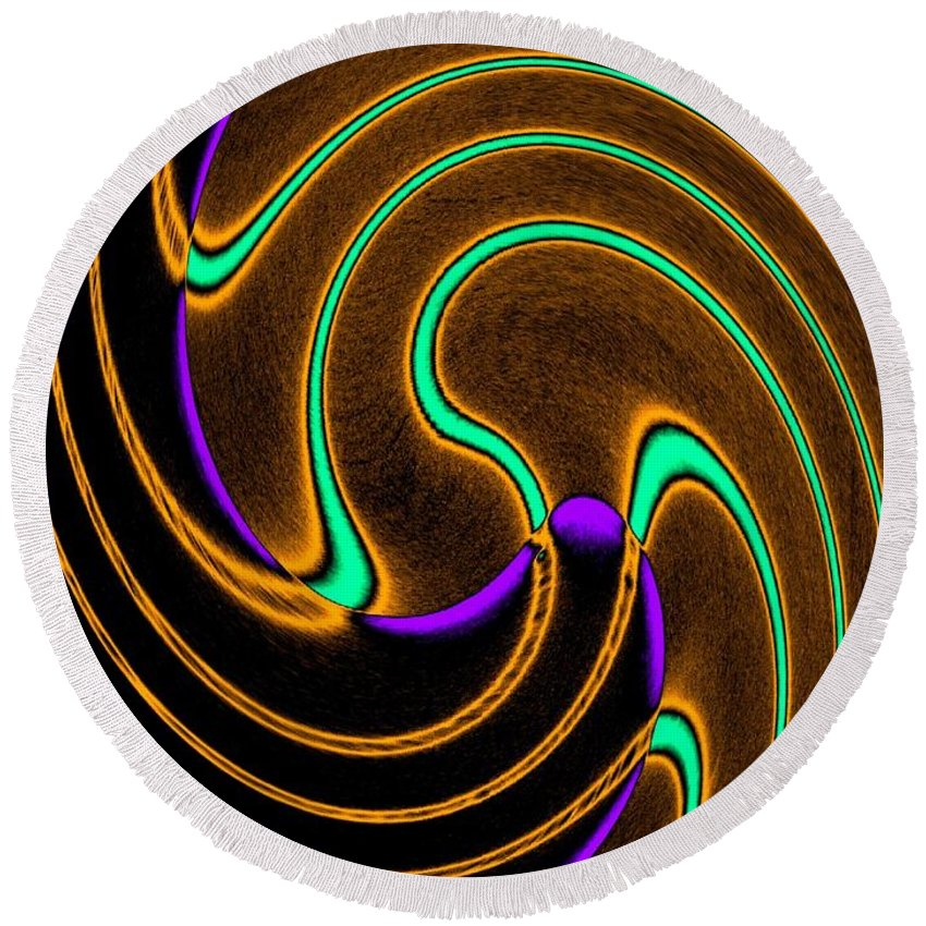 Abstract Fusion Round Beach Towel featuring the digital art Abstract Fusion 174 by Will Borden