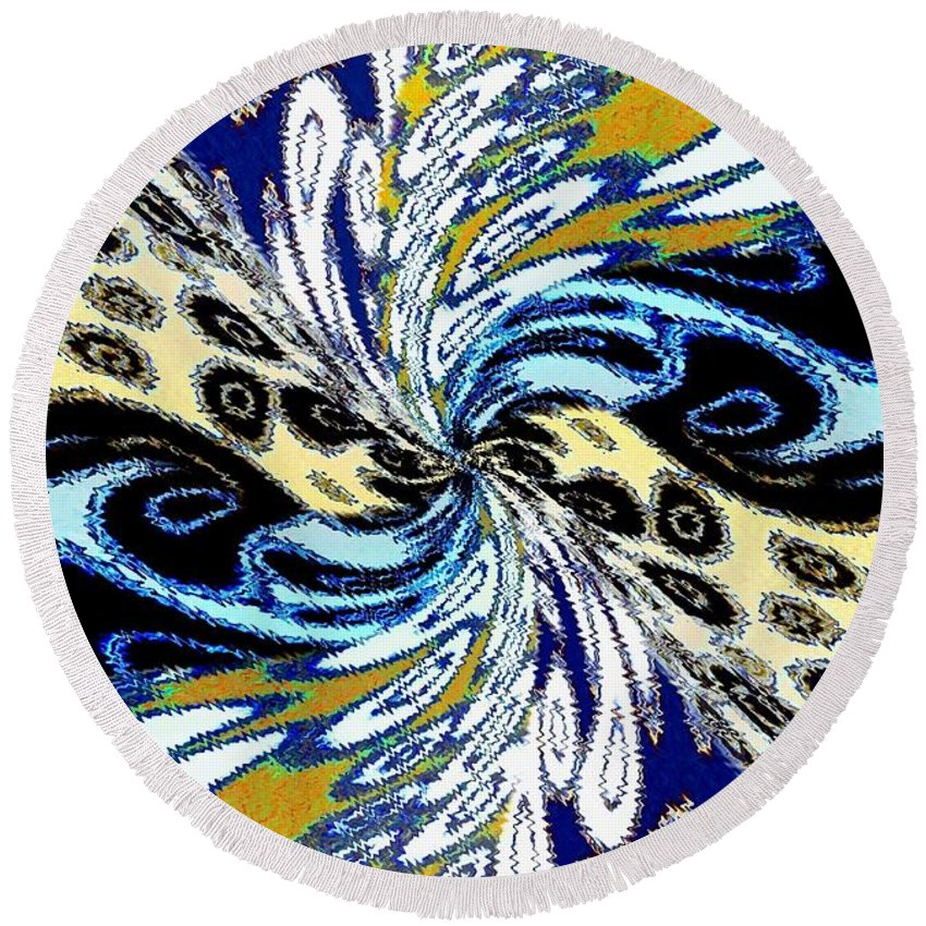 Abstract Fusion Round Beach Towel featuring the digital art Abstract Fusion 198 by Will Borden