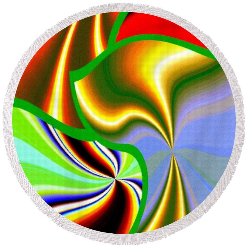 Abstract Fusion Round Beach Towel featuring the digital art Abstract Fusion 200 by Will Borden