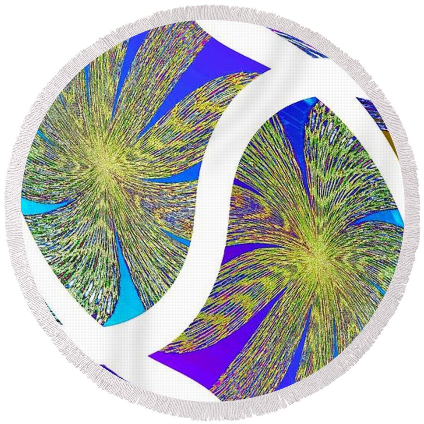 Abstract Fusion Round Beach Towel featuring the digital art Abstract Fusion 203 by Will Borden