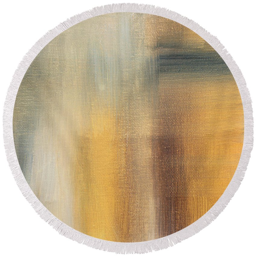 Abstract Round Beach Towel featuring the painting Abstract Golden Yellow Gray Contemporary Trendy Painting Fluid Gold Abstract II By Madart Studios by Megan Duncanson