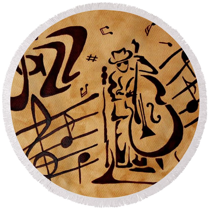 Jazz Music Painting With Coffee Abstract Round Beach Towel featuring the painting Abstract Jazz Music Coffee Painting by Georgeta Blanaru