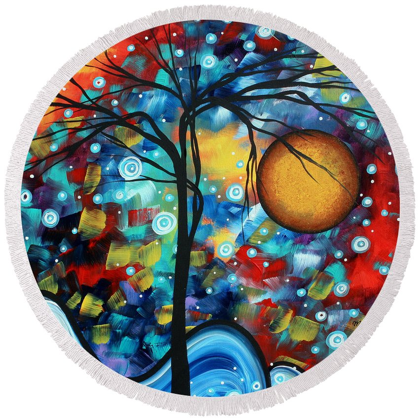 Abstract Round Beach Towel featuring the painting Abstract Landscap Art Original Circle Of Life Painting Sweet Serenity By Madart by Megan Duncanson