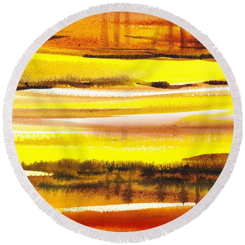 Abstract Round Beach Towel featuring the painting Abstract Landscape Found Reflections by Irina Sztukowski