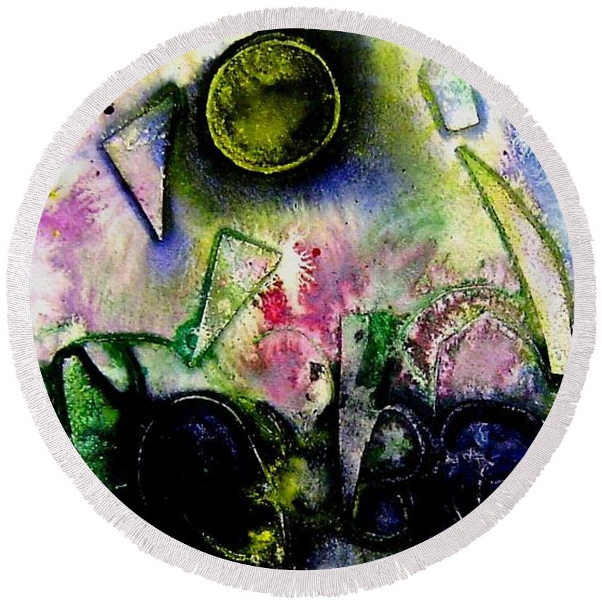 Abstract Round Beach Towel featuring the mixed media Abstract Landscape II by John Nolan