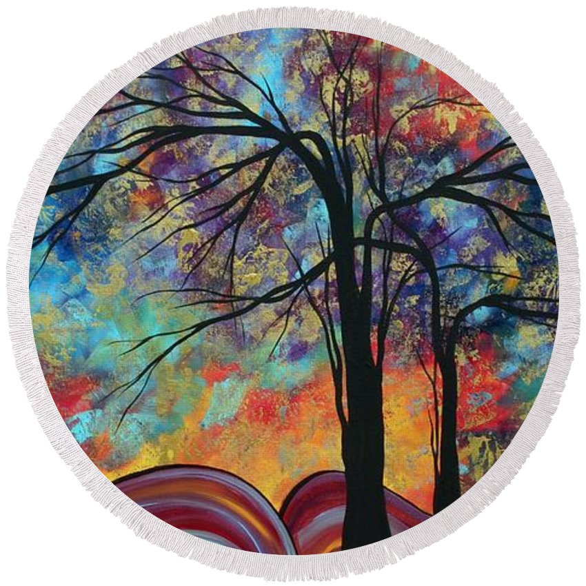 Abstract Round Beach Towel featuring the painting Abstract Landscape Tree Art Colorful Gold Textured Original Painting Colorful Inspiration By Madart by Megan Duncanson