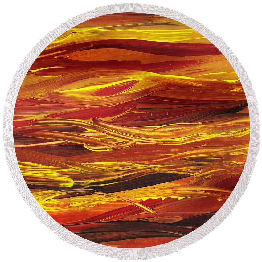 Hill Round Beach Towel featuring the painting Abstract Landscape Yellow Hills by Irina Sztukowski