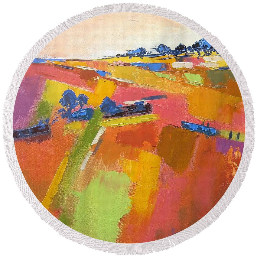 Fields Round Beach Towel featuring the painting Abstract Landscape by Yvonne Ankerman