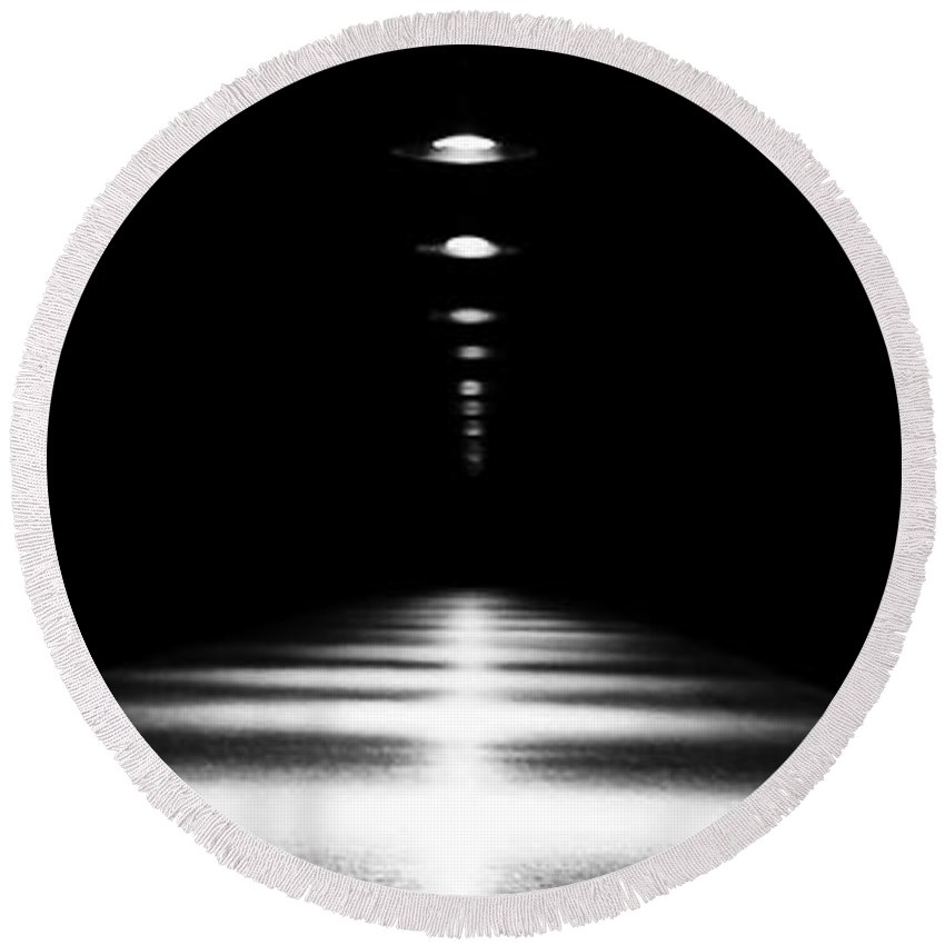 Black & White Round Beach Towel featuring the photograph Abstract Light by Scott Pellegrin