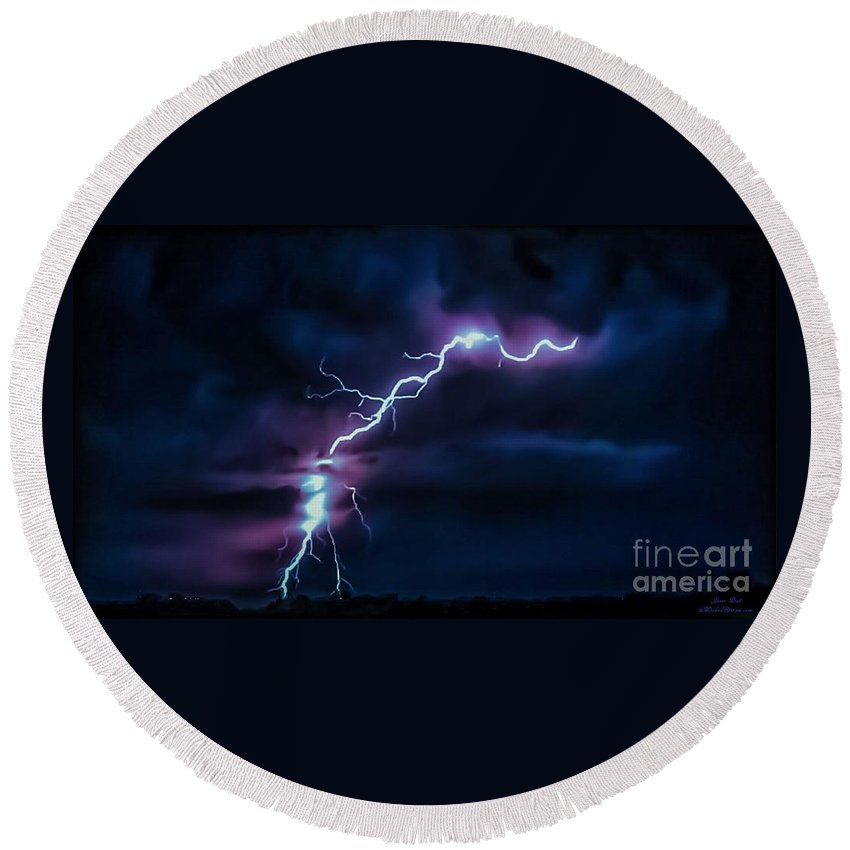 Wicked Round Beach Towel featuring the photograph Abstract Positive Striker Lightning 13 by Jesse Post