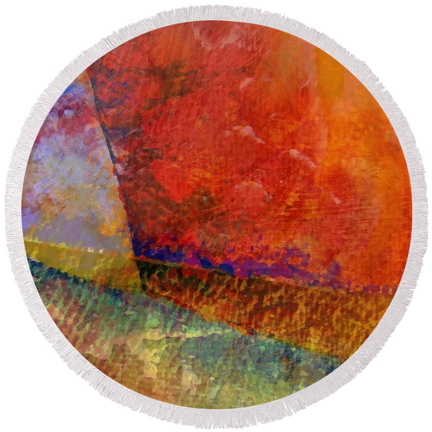 Abstract Collage Round Beach Towel featuring the painting Abstract No. 1 by Michelle Calkins