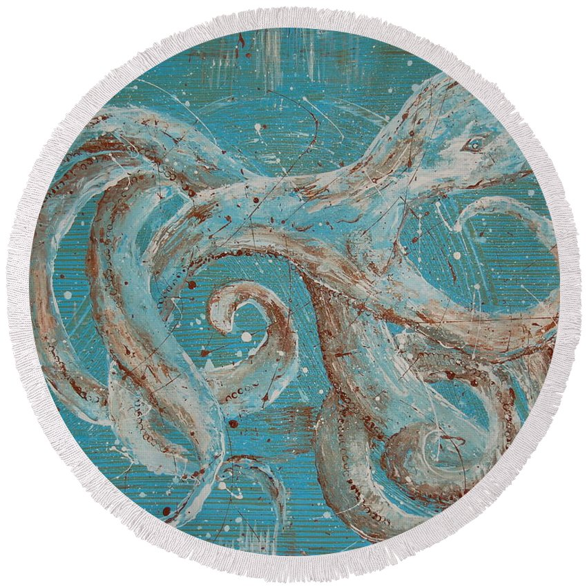 Octopus Round Beach Towel featuring the painting Abstract Octopus by Tamyra Crossley