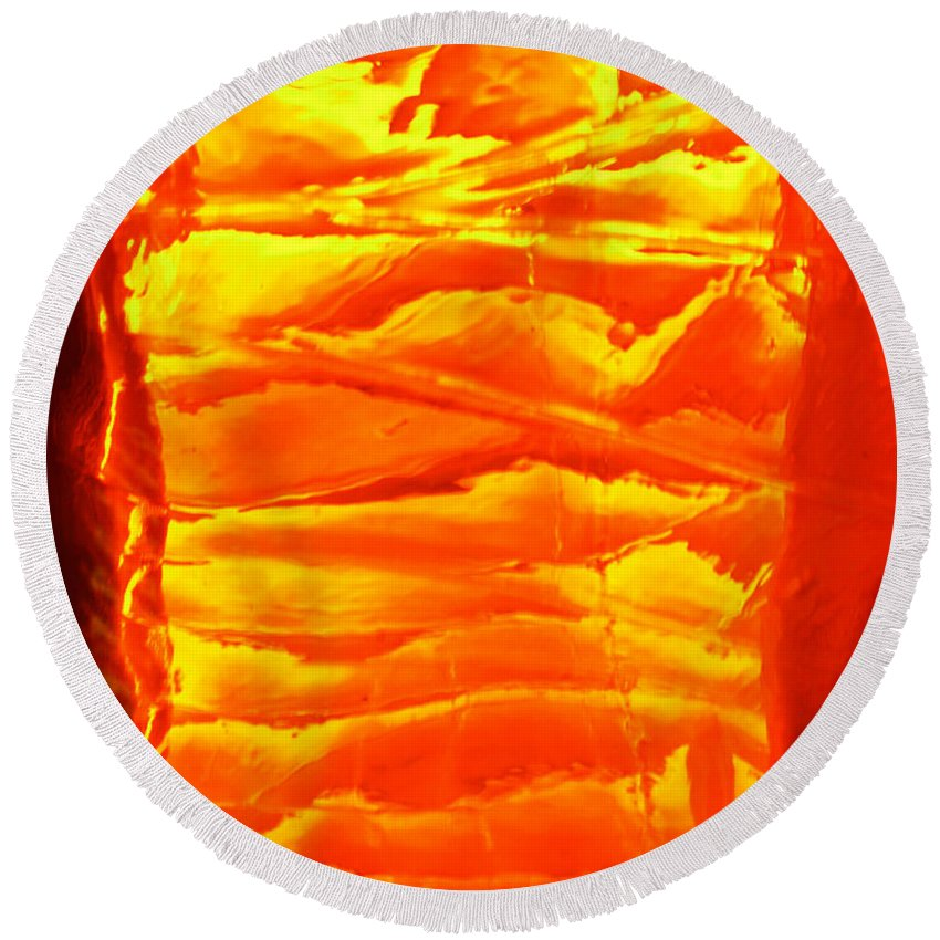 Orange Round Beach Towel featuring the photograph Abstract Orange by Amanda Barcon