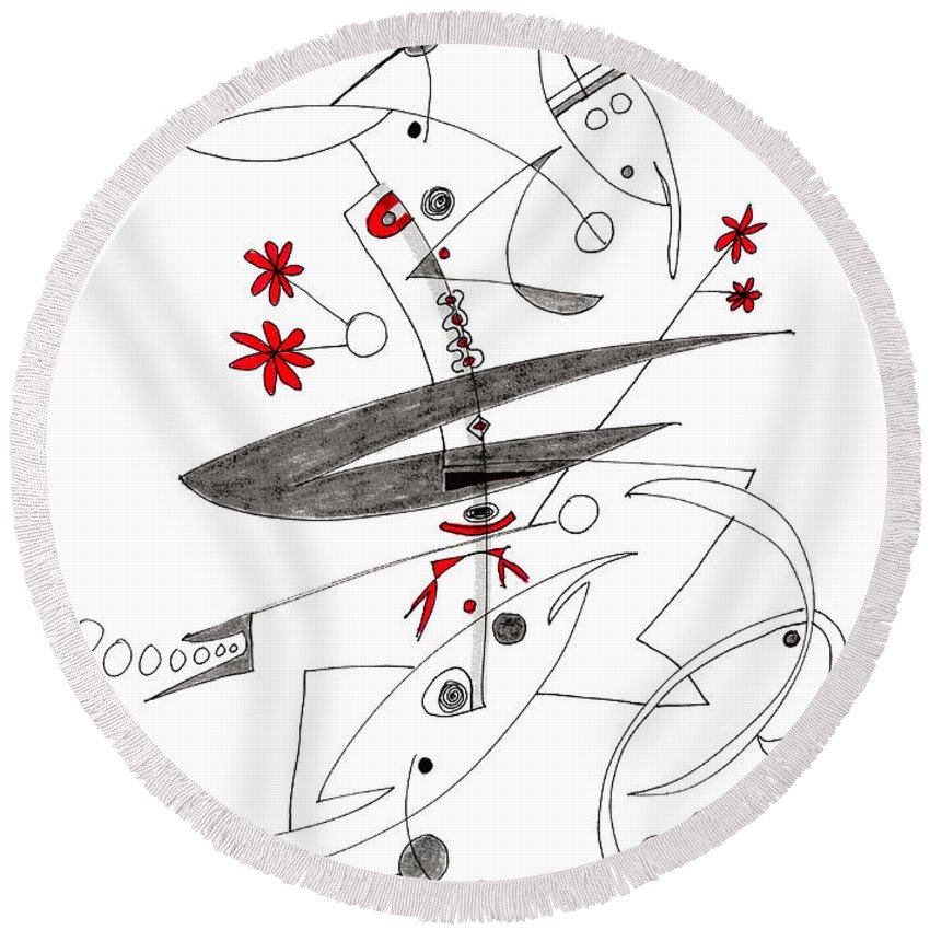 Abstract Round Beach Towel featuring the drawing Abstract Pen Drawing Seventy-eight by Lynne Taetzsch