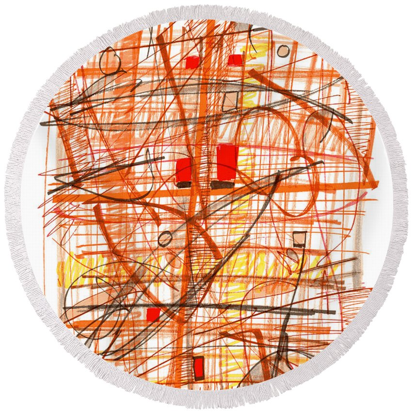 Abstract Round Beach Towel featuring the drawing Abstract Pen Drawing Sixty-one by Lynne Taetzsch